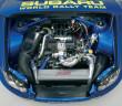 Il motore boxer di due litri sovralimentato della Subaru Impreza WRC 2005.