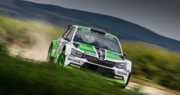 Jan Kopecky con la Skoda Fabia R5 al Rally Hustopece.