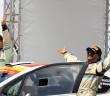 Anna Andreussi e Paolo Andreucci all'arrivo del Rally Italia Sardegna.