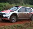 La Fabia R5 di Tidemand nel fango del China rally.