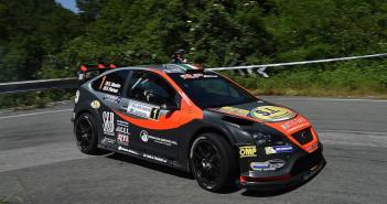 La Ford Focus WRC di Elwis Chentre in azione sulle strade Genovesi.