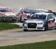 L'Audi S1 di Ekstrom alla guida del gruppo.