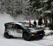 Lorenzo Bertelli in azione con la WRC 2016 sulle strade del Varmland.