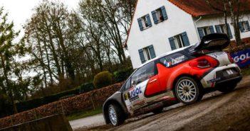 La Citroen DS3 WRC di Lefebvre in azione sulle veloci strade del Nord.