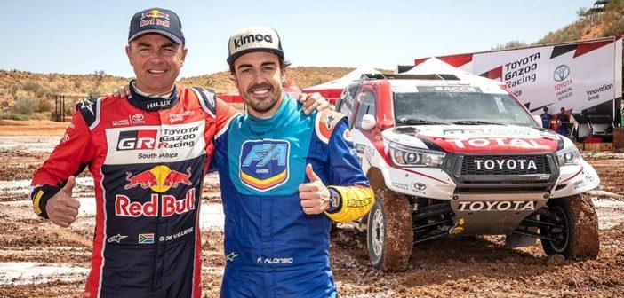 Alonso e De Villers ai test Sud Africani con la Toyota Hilux.