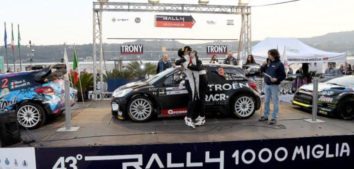 Il podio finale del neo promosso rally 1000 miglia.