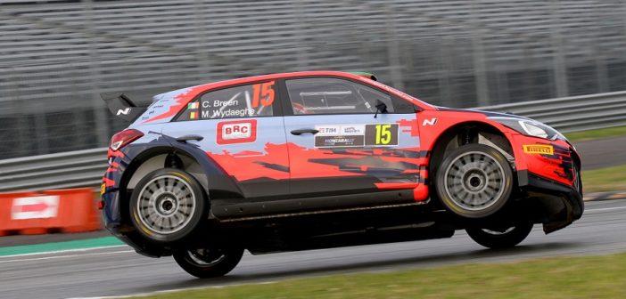Breen in azione al Monza 2019 con una i20 marchiata BRC.