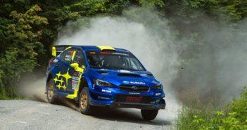 La Subaru WRX STI di Oliver Solberg impegnata nella serie USA 2019.