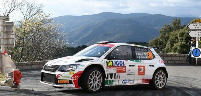 Fabio Andolfi in azione al Tour 2019 dove portò la sua Fabia sul gradino più alto del WRC2.