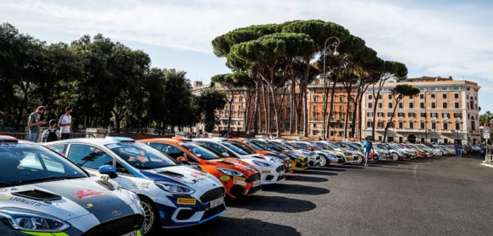 Il parco chiuso al Rally di Roma Capitale 2020